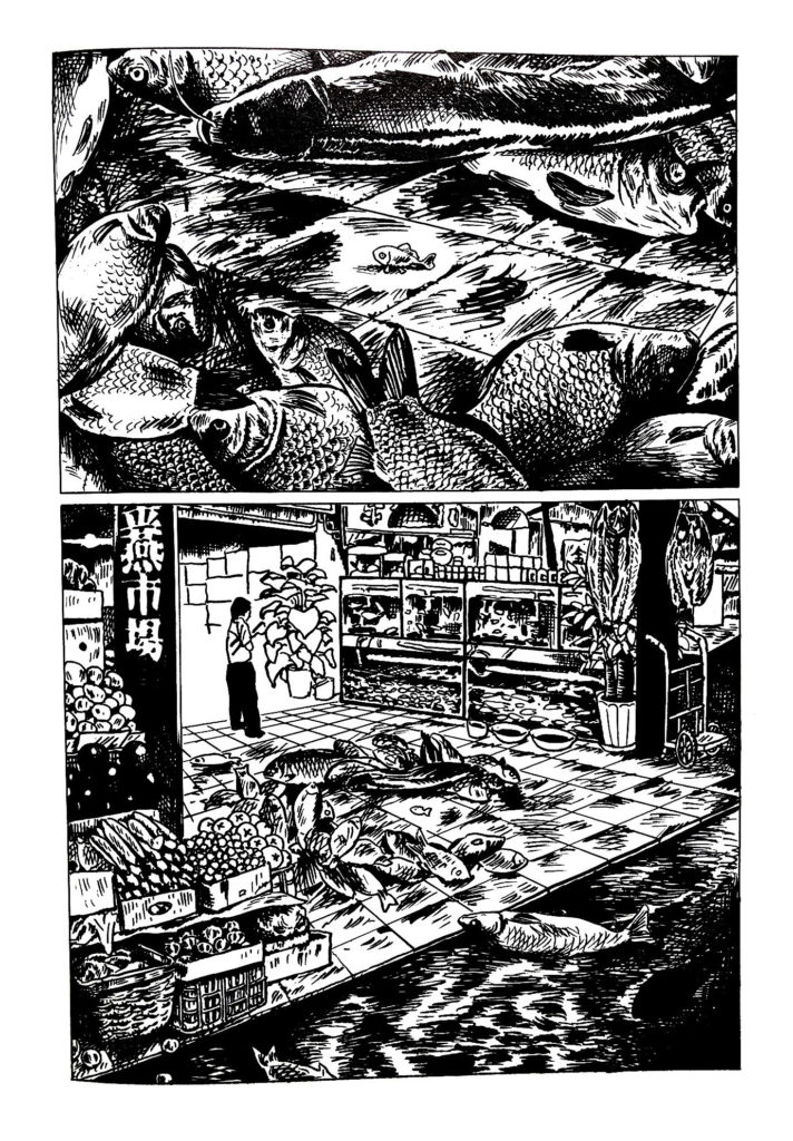 Excerpt from Night Bus showing a detailed fish market stall