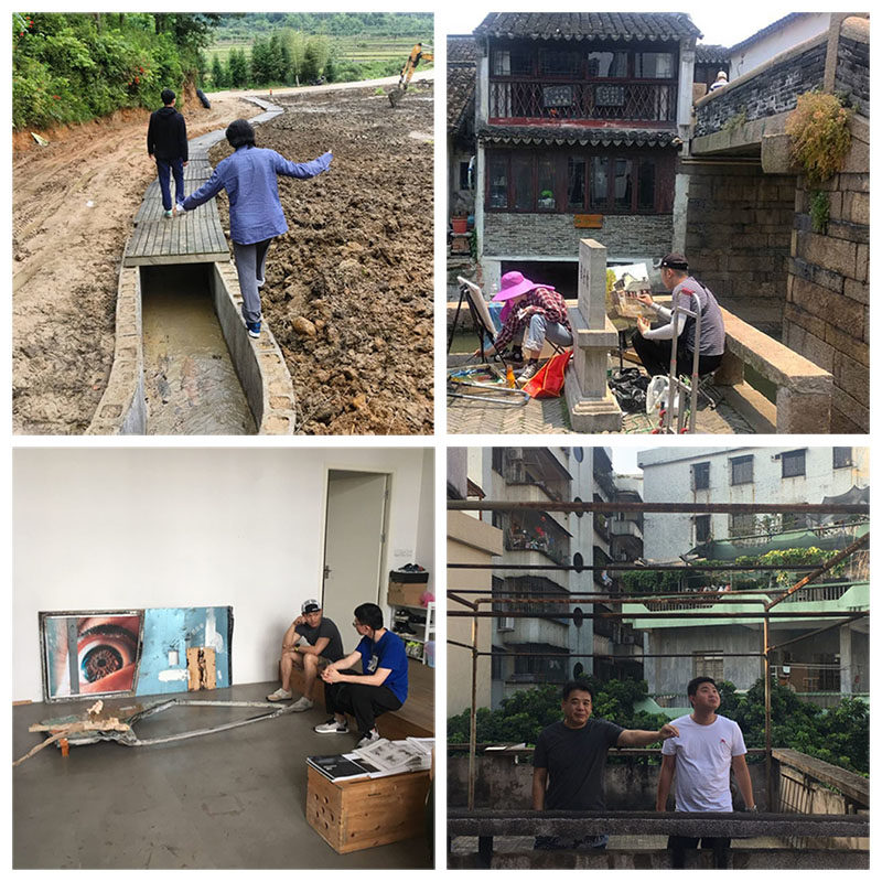 Montage of our photos of people and art in China