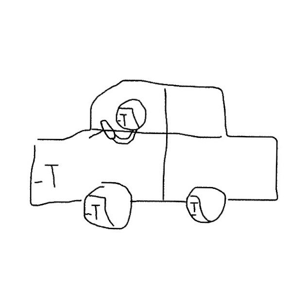 Illustration: A crying person drives a crying car.