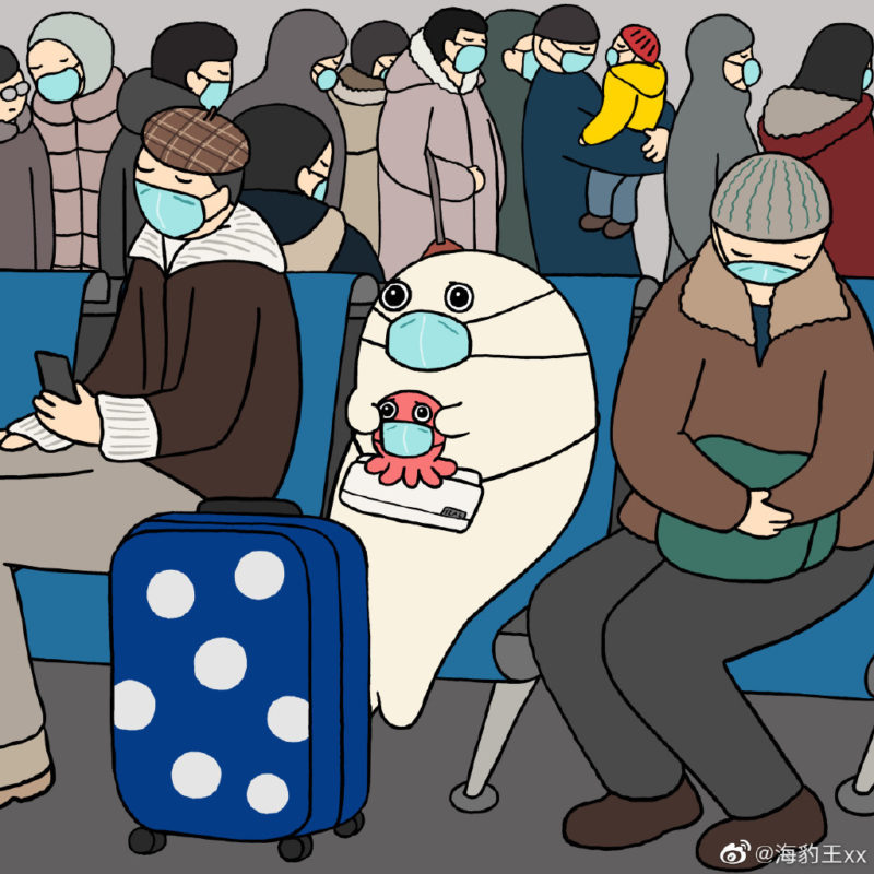 An anxious seal and octopus in a crowded room with their suitcase. Everyone has surgical masks on.