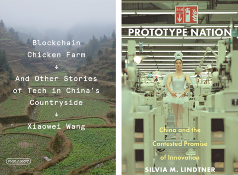 Two book covers. The first is for Blockchain Chicken Farm which features an agragrian landscape. The second is for Protoype Nation and features a ballerina in the middle of a factory.